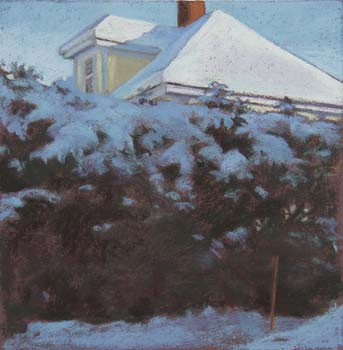 House and Hedge<br /><small>pastel     10 1/4 x 10 1/4     sold</small>