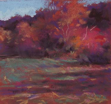 Red Tree and Cornfield<br /><small>pastel     6 1/2 x 6 3/4     sold</small>