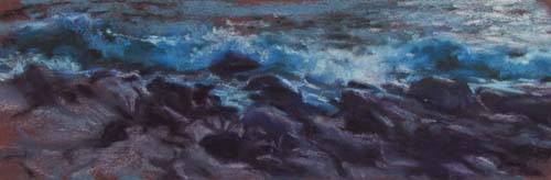 Waves and Rocks, triptych study<br /><small>pastel     4 1/2 x 13      $650</small>
