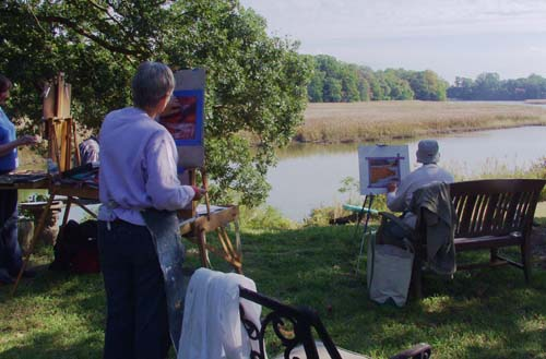 Plein air workshop students painting on location in the beautiful countryside near Chestertown, Maryland.